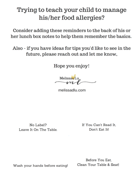 Optional Tips for Children with Food Allergies